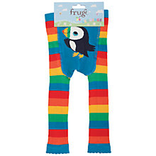Buy Frugi Organic Baby Knitted Rainbow Stripe Puffin Leggings, Multi Online at johnlewis.com