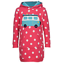 Buy Frugi Organic Girls' Harriet Camper Hoodie Dress, Pink/White Online at johnlewis.com