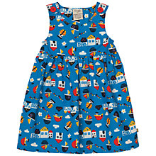 Buy Frugi Organic Baby Poplin Printed Dress, Blue/Multi Online at johnlewis.com
