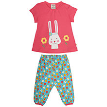 Buy Frugi Organic Baby Petunia Rabbit Flower Top and Trousers Set, Pink/Blue Online at johnlewis.com
