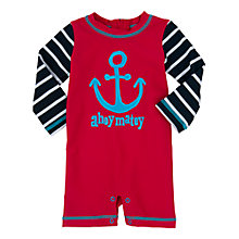 Buy Hatley Baby Anchor Sunproof Rash Guard Swimsuit, Red/Navy Online at johnlewis.com