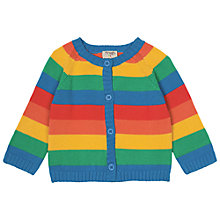 Buy Frugi Organic Baby Happyday Rainbow Stripe Cardigan, Multi Online at johnlewis.com