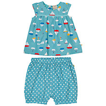 Buy Frugi Organic Baby Boat and Spot Print Top and Bottoms Set, Blue Online at johnlewis.com