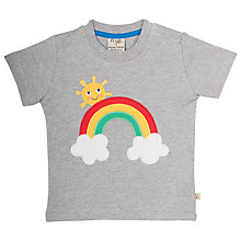Buy Frugi Organic Baby Little Creature Rainbow Appliqué T-Shirt, Grey Marl Online at johnlewis.com