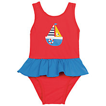 Buy Frugi Organic Baby Little Sally Boat Swimsuit, Red/Blue Online at johnlewis.com