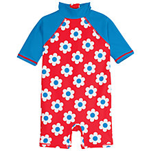 Buy Frugi Organic Baby Sun Safe Flower Swimsuit, Red/Blue Online at johnlewis.com