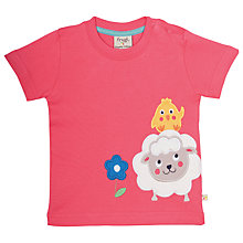 Buy Frugi Organic Baby Little Creature Sheep Appliqué Top, Pink Online at johnlewis.com