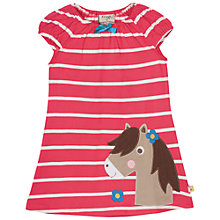 Buy Frugi Organic Baby Lola Stripe Horse Jersey Dress, Pink/White Online at johnlewis.com