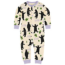 Buy Hatley Baby Bear Footless Sleepsuit, Cream/Lilac Online at johnlewis.com