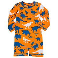 Buy Hatley Baby Dinosaur Sunproof Rash Guard Swimsuit, Orange Online at johnlewis.com
