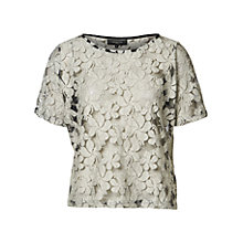 Buy Selected Femme Short Sleeved Lace Top, Snow White/Black Online at johnlewis.com