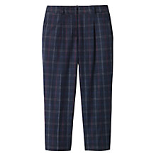 Buy Toast Cropped Check Trousers, Navy/Berry Online at johnlewis.com