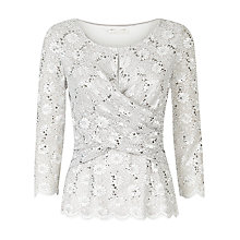 Buy Jacques Vert Drape Front Lace Top, Light Grey Online at johnlewis.com