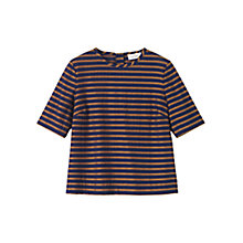Buy Toast Jacquard Stripe T-Shirt, Indigo/Ochre Online at johnlewis.com