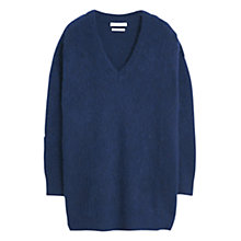 Buy Mango V-Neck Textured Sweater, Navy Online at johnlewis.com