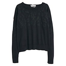 Buy Mango Leopard Pattern Jumper, Black Online at johnlewis.com