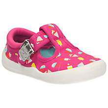 Buy Clarks Children's Briley Bow Canvas Shoes, Pink Online at johnlewis.com