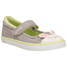 Buy Clarks Children's Gracie Tail Canvas Rip-Tape Shoes, Grey Online at johnlewis.com