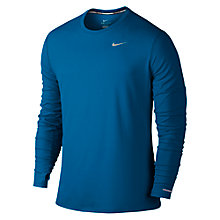 Buy Nike Dri-FIT Contour Long Sleeve Running Top, Blue Online at johnlewis.com