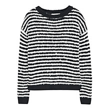 Buy Mango Striped Wool Blend Jumper, Black/White Online at johnlewis.com
