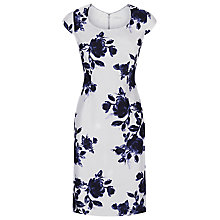 Buy Jacques Vert Petite Rose Print Dress, Grey/Multi Online at johnlewis.com