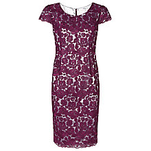 Buy Jacques Vert Corded Lace Dress, Dark Pink Online at johnlewis.com