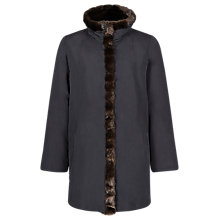 Buy Jacques Vert Funnel Neck Faux Fur Trim Coat, Black Online at johnlewis.com