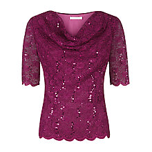 Buy Jacques Vert Drape Front Lace Top, Dark Pink Online at johnlewis.com