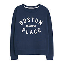 Buy Mango Cotton Printed Message Sweatshirt, Navy Online at johnlewis.com