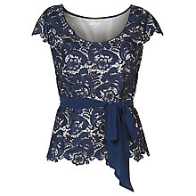 Buy Jacques Vert Belted Lace Top, Navy Online at johnlewis.com