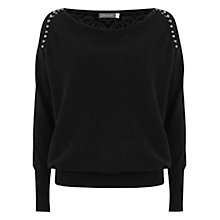 Buy Mint Velvet Lace Batwing Jumper, Black Online at johnlewis.com