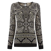 Buy Oasis Paisley Satin Crew Top, Pale Grey Online at johnlewis.com