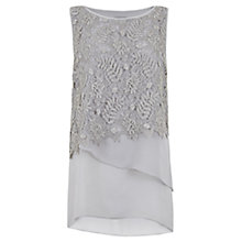 Buy Mint Velvet Lace Layer Top, Grey Online at johnlewis.com
