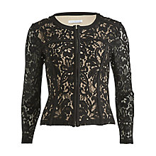 Buy Gina Bacconi Lace Jacket With Faux Leather Trim, Black Online at johnlewis.com