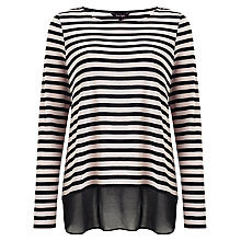 Buy Phase Eight Sandie Stripe Top, Black/Pink Online at johnlewis.com