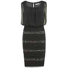 Buy Gina Bacconi Chiffon And Sequin Layered Dress, Black Online at johnlewis.com