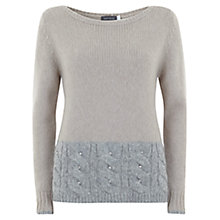 Buy Mint Velvet Cable Hem Jumper, Camel/Grey Online at johnlewis.com