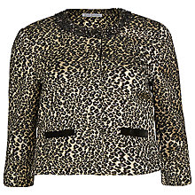 Buy Gina Bacconi Animal Print Jacquard Jacket With Beaded Neck, Black/Gold Online at johnlewis.com