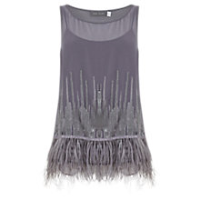 Buy Mint Velvet Feather Hem Shell Top, Grey Online at johnlewis.com