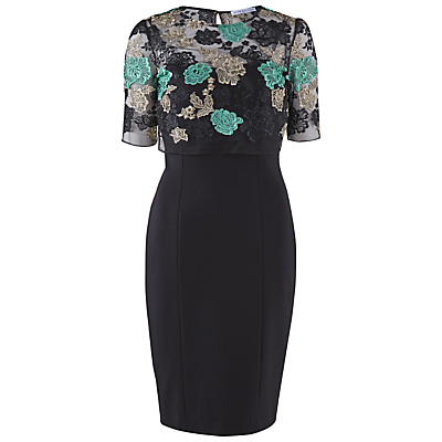 Gina Bacconi Ponti Dress With Floral Embroidered Top, Green
