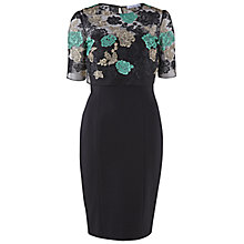 Buy Gina Bacconi Ponti Dress With Floral Embroidered Top, Green Online at johnlewis.com