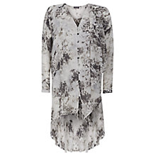 Buy Mint Velvet Anise Print Ruffle Blouse, Grey Online at johnlewis.com