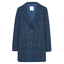 Buy Mango Check Coat, Navy/Teal Online at johnlewis.com