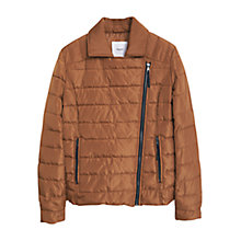 Buy Mango Side Zip Quilted Coat, Medium Brown Online at johnlewis.com