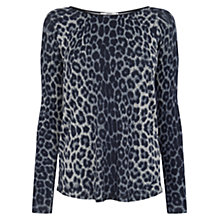 Buy Oasis Animal Faux Leather Trim Jumper, Multi Online at johnlewis.com