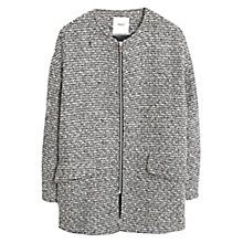 Buy Mango Jacquard Zip Front Coat, Medium Grey Online at johnlewis.com