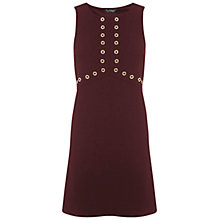 Buy Miss Selfridge Eyelet Shift Dress, Burgundy Online at johnlewis.com