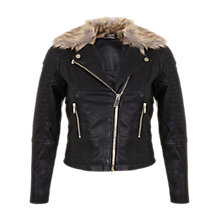 Buy Miss Selfridge Petite Faux Fur Trim Jacket Online at johnlewis.com