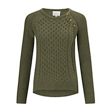 Buy East Cable Detail Cotton Jumper, Khaki Online at johnlewis.com