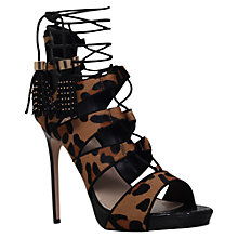 Buy Carvela Geoffrey Caged High Heel Sandals, Pony Beige Comb Online at johnlewis.com